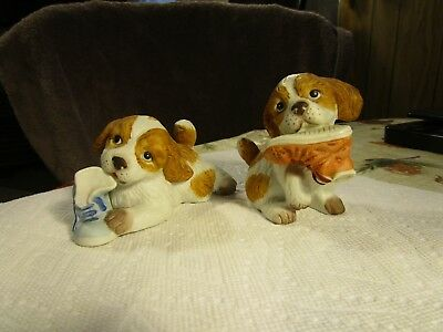 2 Hand Painted Porcelain Puppy Dog Chewing On Old Sneaker Figurines - HOMCO 1405
