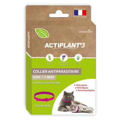 ActiPlant'3 - Collier Antiparasitaire pour Chat - Rose