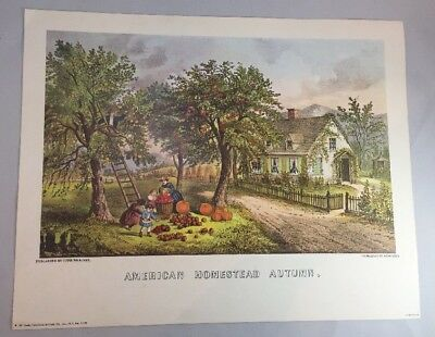 """Vintage """"american Homestead Autumn"""" Currier & Ives Lithograph Print 1971"""