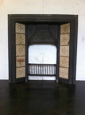 Original Restored Antique Cast Iron Victorian Tiled Fireplace Insert (EM103)