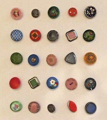 Collection of 25 Vintage Colorful Glass Buttons circa 1950's
