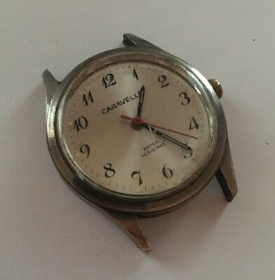 Vintage Caravelle Men's Military Hand Wind Watch For Parts/Repair