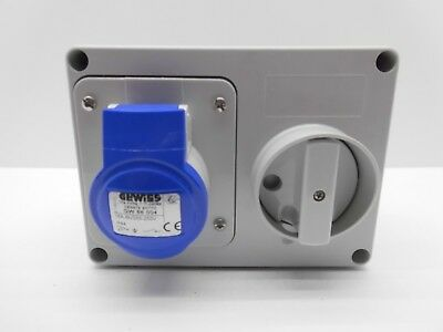 Gewiss Gw66004 16 Amp 240 Volt 3 Pin Blue Ip44 Interlocked Switched Socket