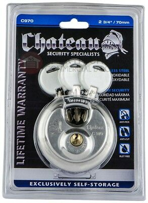Padlock Lock Round Chateau Heavy Duty Stainless 3 Keys Disc Lock Chateau C-970