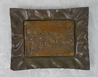 Rare Antique 19th Century Repousse Brass Wall Hanging Medieval Tavern Scene