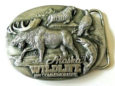 Alaska 1990 Commemorative Moose Walrus Eagle Salmon Siskiyou Vintage Belt Buckle
