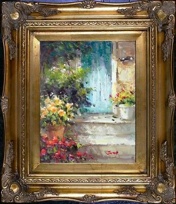 Framed Painting Beautiful Front Door Scene Oil On Canvas Signed Impressionist