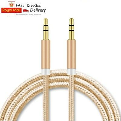 1m 3.5mm Jack to Jack Aux Cable Braided PVC STEREO Audio Auxiliary Lead PC Car