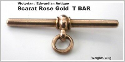 Antique T Bar 9ct Rose Gold Heavy Quality Watch Albert Chain Fastener Period HM