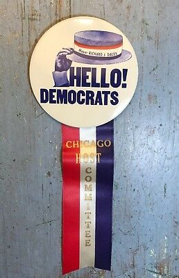 Vintage HELLO DEMOCRATS Richard J Daley Political Button & Ribbon Chicago 1960's