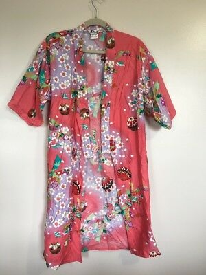 Juguemm 100% Cotton Made In Japan Pink Floral Open Front Kimono - Ck 130 40 In