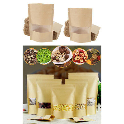 100x Stand Up Zip Lock Brown Kraft Paper Bag w/ Window for Tea Coffee Snack