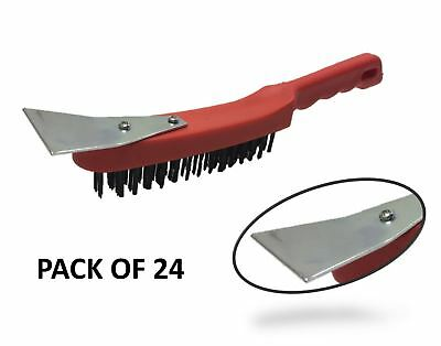 24x Heavy Duty Pro Wire Brush Metal Bristle Scrubbing Scraper Blade Rust Remover