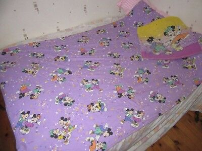 Rare Drap De Lit Vintage Disney Cti France Mickey And Minnie Dancing Set Of Bed