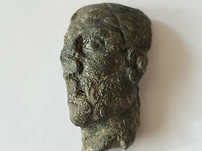 Ancient Roman Bronze Face Fragment Of Statue 1-2 Ad