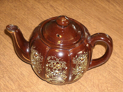 BROWN CLAY TEAPOT w/LID-HAND PAINTED FLOWERS-DESIGN-NO CHIPS-JAPAN-VGC