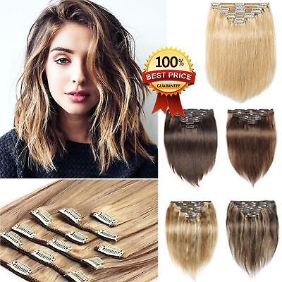 "HOT Long Thick Double Weft Clip in Remy Human Hair Extensions 12""-24"" Ombre AU 3"