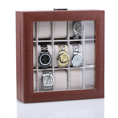 Brown 15 Grids Watch Case Jewellery Storage Box Organizer Glass Top Lock Key 50