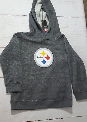 Pittsburgh Steelers Hoodie Sweatshirt, Grey, Boys Medium, New