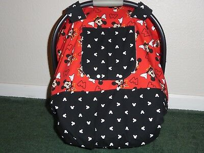 **MICKEY MOUSE**Fitted w/peekaboo opening Handmade Baby Car Seat Canopy-Cover