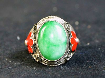 Old Jade&tibetan Silver Carving Flower Statue Collection Ring