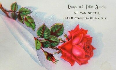 Late 1800s Victorian Trade Card Van Nort's Drugs And Toiletries Elmira NY