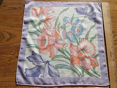 Vintage Cotton Hankie Colorful Bouquet Of Daffodils Print Purples Pinks Orange