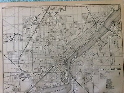 Antique Map Of City Of Toledo. — Boody House —Central R.r. — 1900 Map