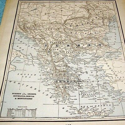 ANTIQUE MAP OF TURKEY IN EUROPE, GREECE, ROUMANIA, SERVIA, etc.  - 1893 MAP
