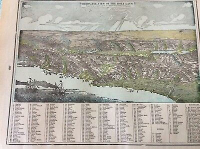 Antique Cram Map Of Birds Eye View Of The Holy Land   Figures Referenced
