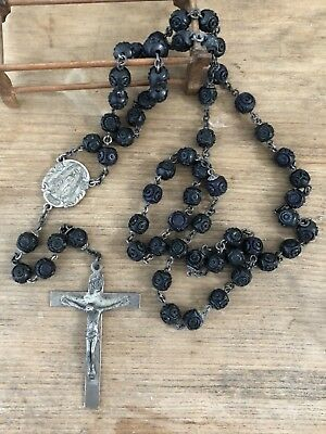 Antique Vintage Sterling Silver Carved Bead Catholic Religious Rosary