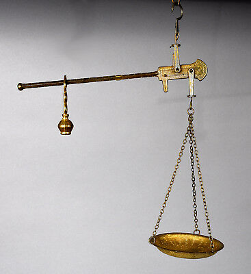 """Antique Steelyard Style Gilt Metal Hanging Scale 15-3/8"""" high x 12"""" wide"""