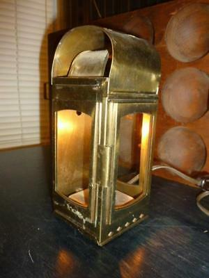 """Vintage Brass & Glass Accent Light Wall Table Shelf 8"""" Carriage Lamp"""