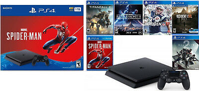 PlayStation 4 1TB Marvel's Spider-Man Console Bundle 6 Games New Fast Shipping!!