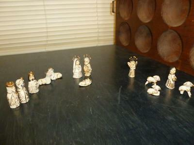 """Vintage Mexico Hand Crafted Art Pottery 13pc Nativity Gold Painted 2"""" Miniatures"""