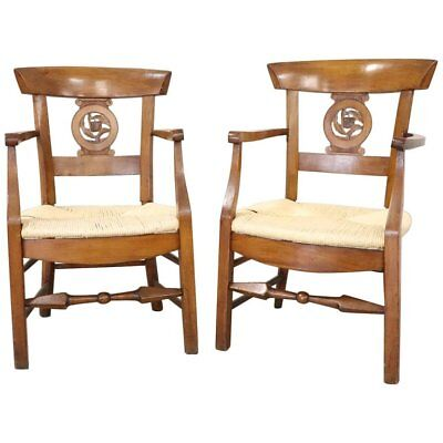 18th Century Italian Louis XVI Cherry wood Pair of Armchairs with Straw Seat