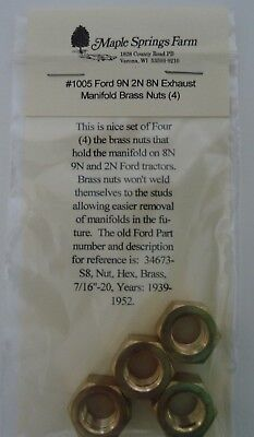 Ford 8N 9N 2N Tractor Exhaust Manifold Brass Nuts Set of 4 with Lock Washers