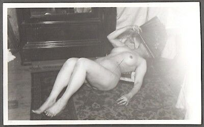 "1930's original vintage French B/W 3 1/2"" x 5 1/2"" amateur photo of mature nude"