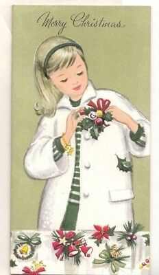 Unused. Pretty Young Lady, Girl, Mid Century, Vintage Christmas Greeting Card!