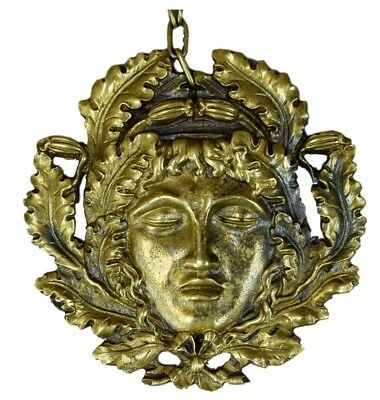 French Antique Empire Style Large Ormolu Bronze Pendant Necklace of Orpheus