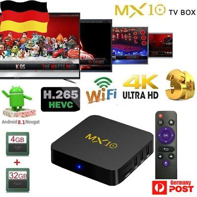 MX10 4+32G Android 8.1 Oreo Quad Core 4K Media Player Smart TV BOX WIFI DE