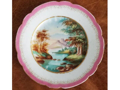 "Vintage hand painted scenic china Japan serving plate 9"" platter"