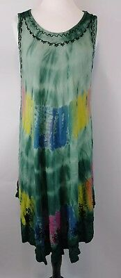 cd8f7666fdd5c In Gear Swim Tie Dye Umbrella Cover-Up Dress One Size green embroidered used