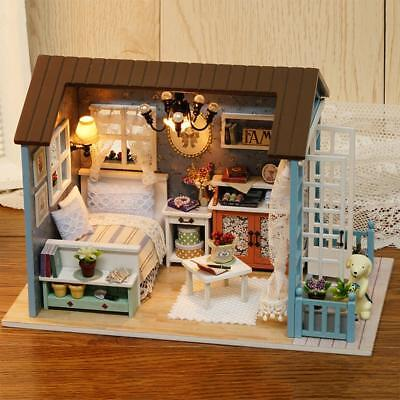 Handmade Doll House Furniture Kit DIY Mini Dollhouse Wooden Toy for Kids Gifts