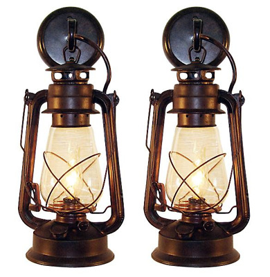 2 Rustic Vintage lantern wall mounted light sconce - Large Rustic