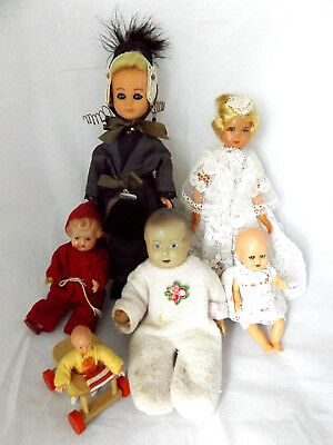 Beautiful Antique Vintage German Costume And Doll Hause Doll Job Lot, Set Of 6.