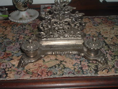 """Antique French Victorian Cast Iron Double Inkwell Desk Pen Rest w Cupids 12"""""""