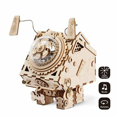 Seymour The Dog Steampunk Music Box 3D Wood Puzzle