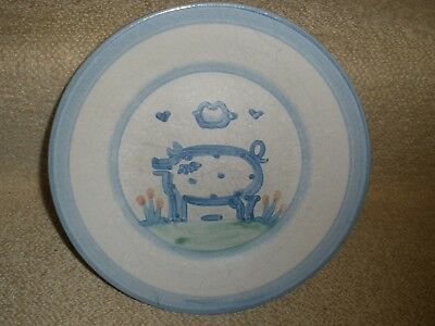 "Salad Plate M.A. Hadley PIG Hand Painted Pottery 9"" Vintage signed Collectible"