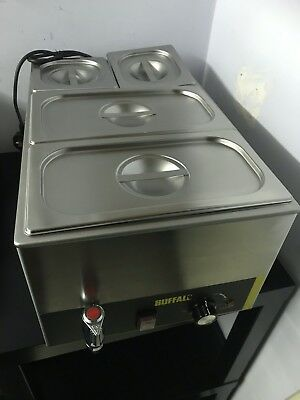 Buffalo Bain Marie With Pans Stainless Steel Cookware Electric Warmer Used